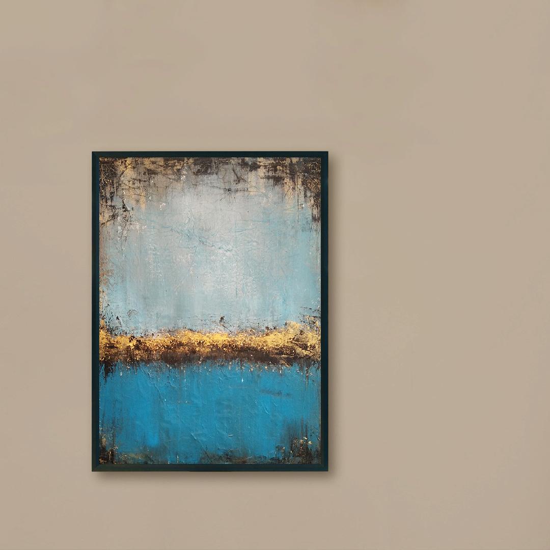 Obraz Akrylowy Jezioro 50 x 70 cm na brązowej ścianie
