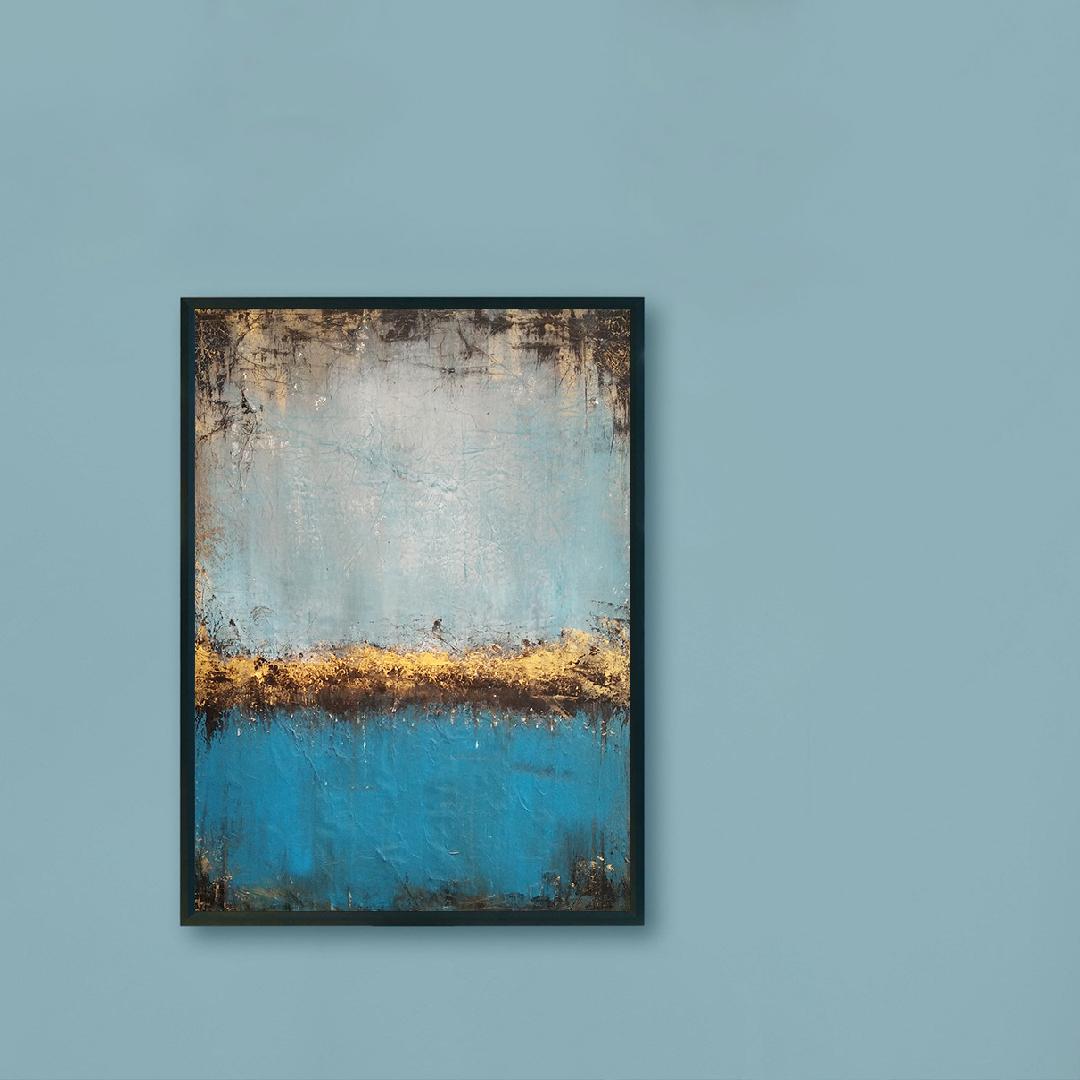 Obraz Akrylowy Jezioro 50 x 70 cm na niebieskiej ścianie