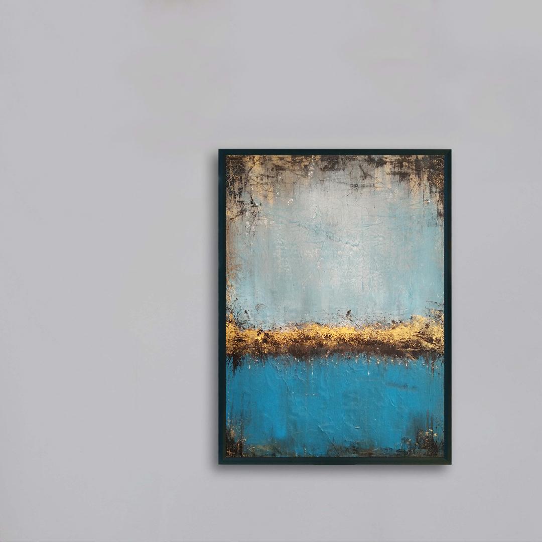 Obraz Akrylowy Jezioro 50 x 70 cm na szarej ścianie
