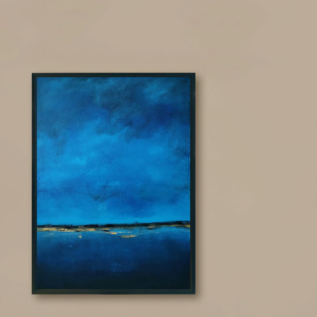 Obraz Akrylowy Brzeg Morski 60 x 80 cm na ścianie brązowej