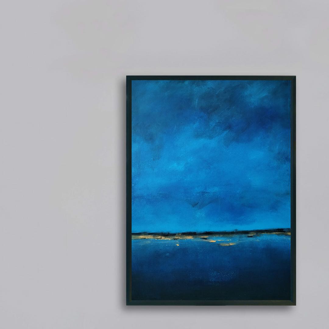 Obraz Akrylowy Brzeg Morski 60 x 80 cm na ścianie szarej