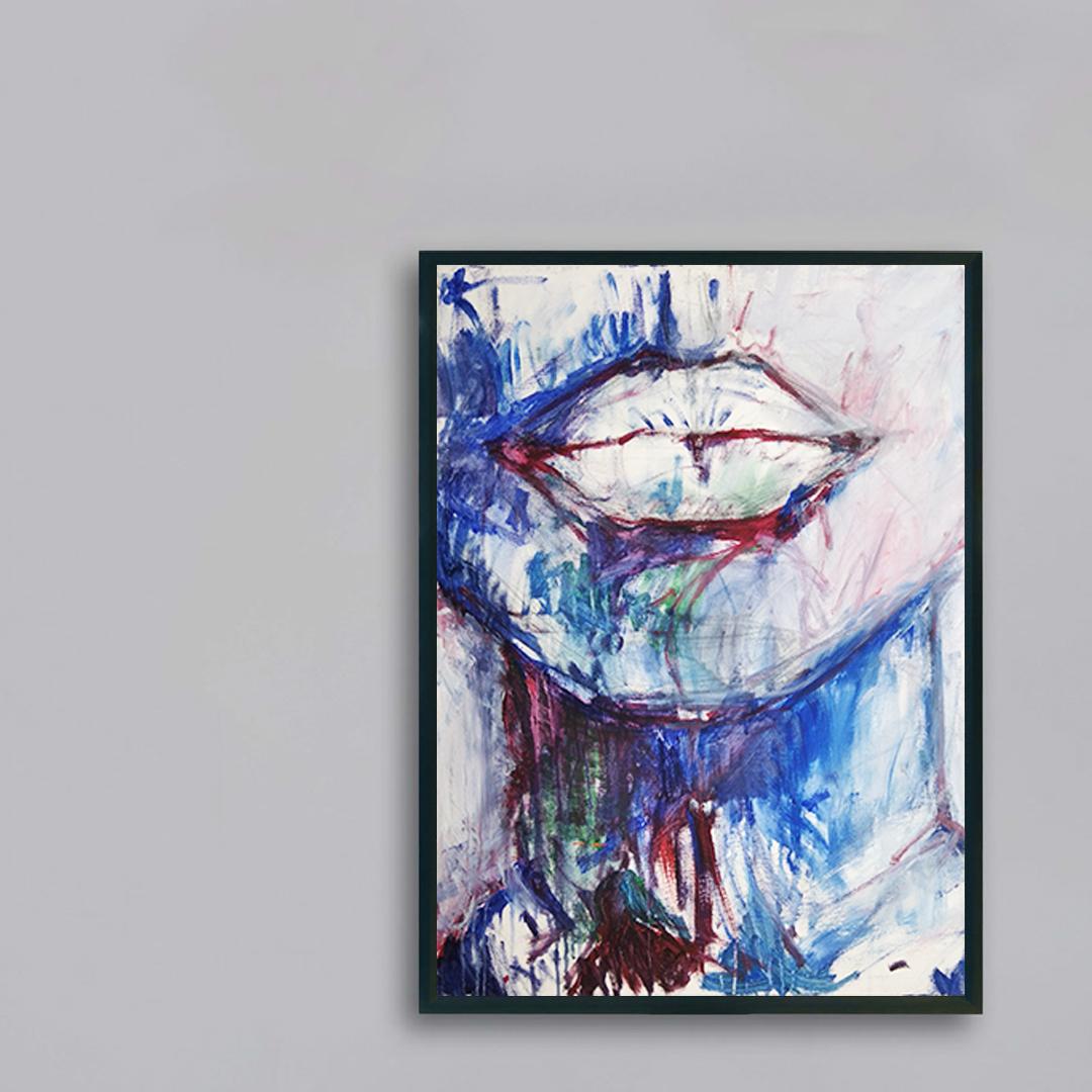 Obraz Akrylowy Milczenie 60 x 80 cm na szarej ścianie