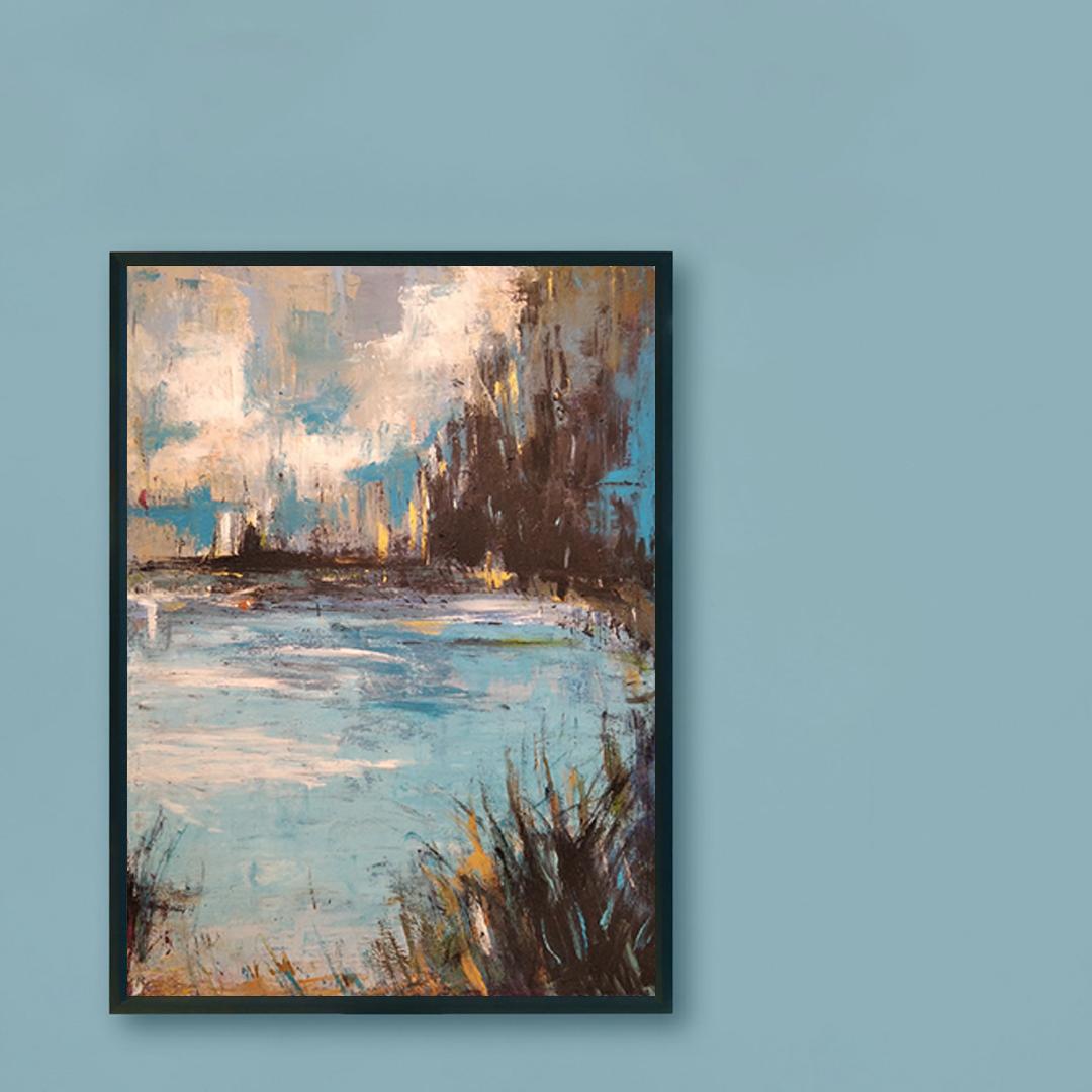 Obraz Akrylowy Organika 60 x 80 cm na ścianę niebieską
