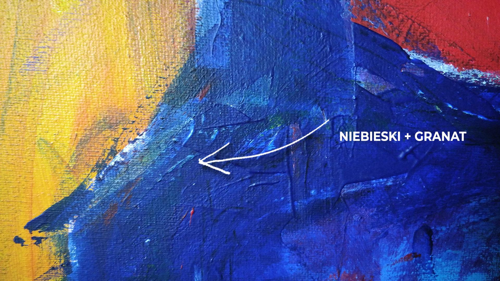 Detal obrazu akrylowego 60 x 80 cm na płótnie granat