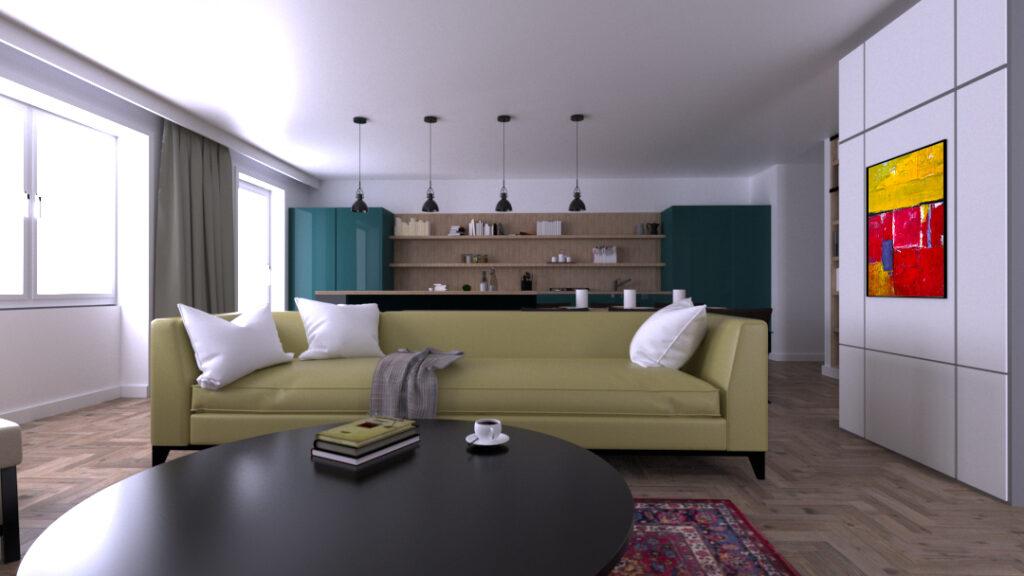 Wizualizacja wnętrza salonu wraz z nowym obrazem powieszonym na ścianie