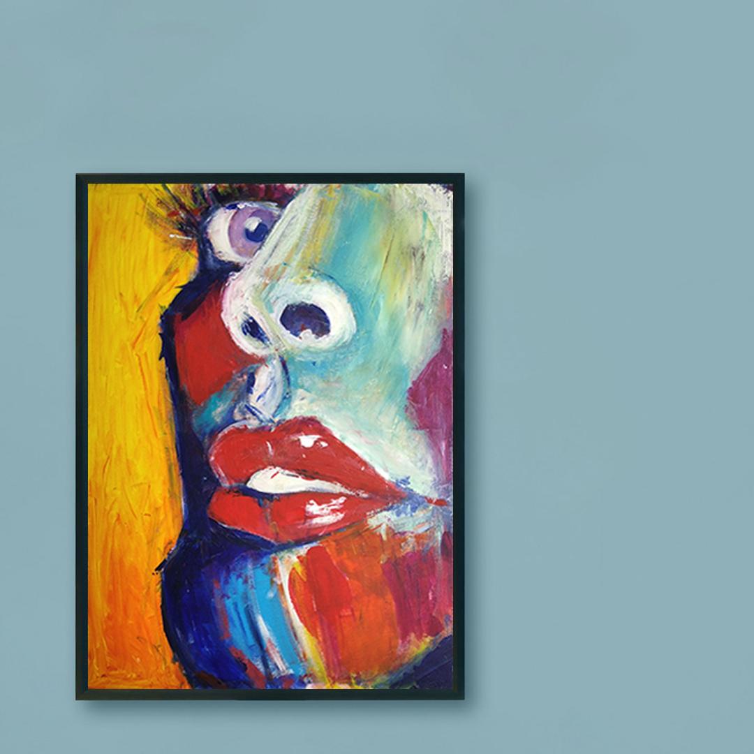 Obraz Akrylowy Zbliżenie 60 x 80 cm obraz na niebieskiej ścianie