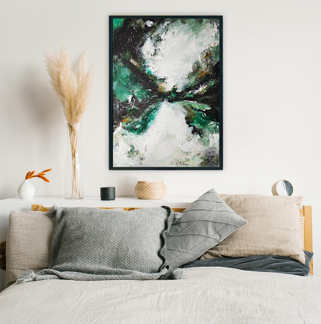 Nowoczesny obraz o modnych kolorach na ścianie w sypialni. Zamów obraz online do wnętrza. Butelkowa zieleń w sypialni o stylu boho.