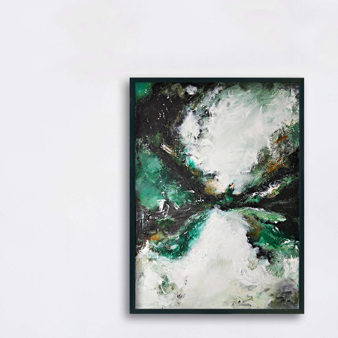 Obraz akrylowy do powieszenia na jasnej ścianie. Obraz o intesywnej kolorystyce, przykład malarstwa nowoczesnego do kupienia.