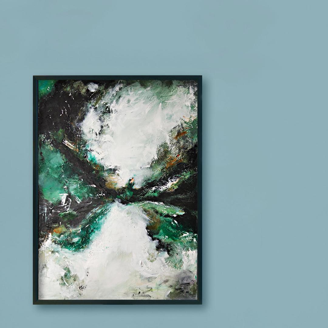 Zamów duży nowoczesny obraz, który pasuje również do chłodnego wnętrza. Obraz ręcznie namalowany