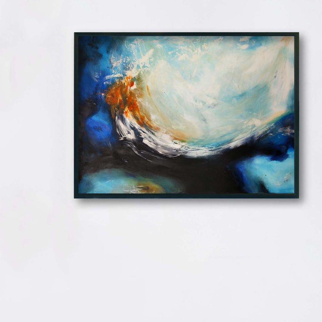 Obrazy ręcznie malowane na ścianę do salonu. Obraz ,morze na białej ścianie