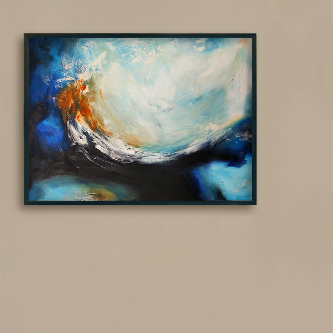 Obrazy ręcznie malowane na ścianę do salonu. Obraz ,morze na brązowej ścianie