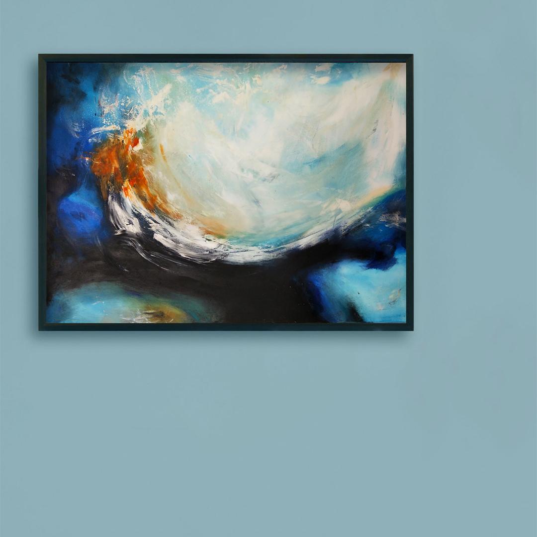 Obrazy ręcznie malowane na ścianę do salonu. Obraz ,morze na niebieskiej ścianie