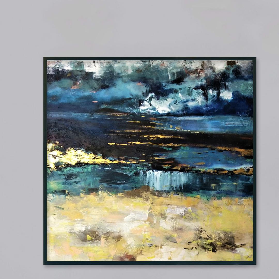 Piękny ręcznie malowany obraz na płótnie na szarej ścianie