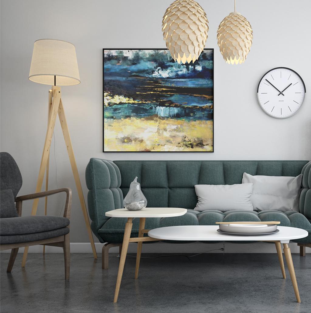 Piękny ręcznie malowany obraz na płótnie na białej ścianie do salonu