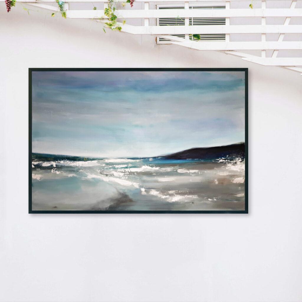 morski pejzaż ręcznie malowany na płótnie do powieszenia na ścianie. Obraz akrylowy ręcznie malowany do kupienia.