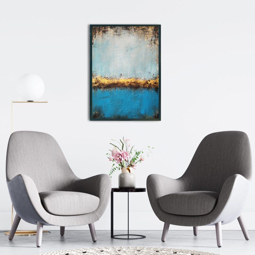 Abstrakcyjny ręcznie malowany obraz do przestrzeni biurowej