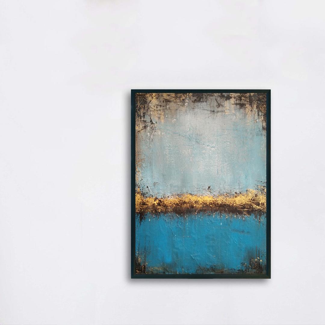 Obraz Akrylowy Jezioro 50 x 70 cm na białej ścianie