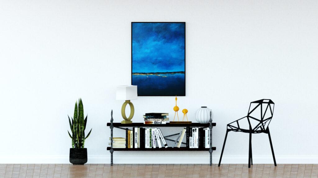 Duże malarstwo akrylowe obok lampy. Obrazy abstrakcyjne ręcznie malowane