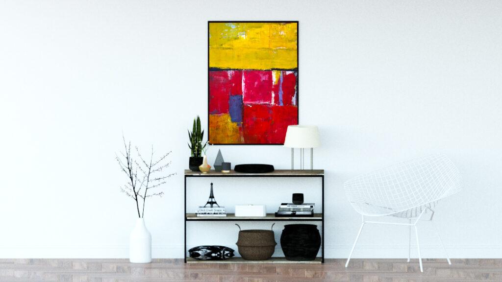 Obraz akrylowy w połączeniu z nowoczesną lampą