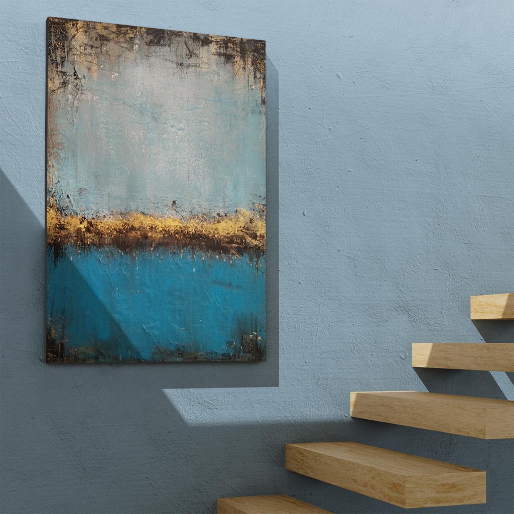 Obraz ręcznie malowany jezioro nad schody