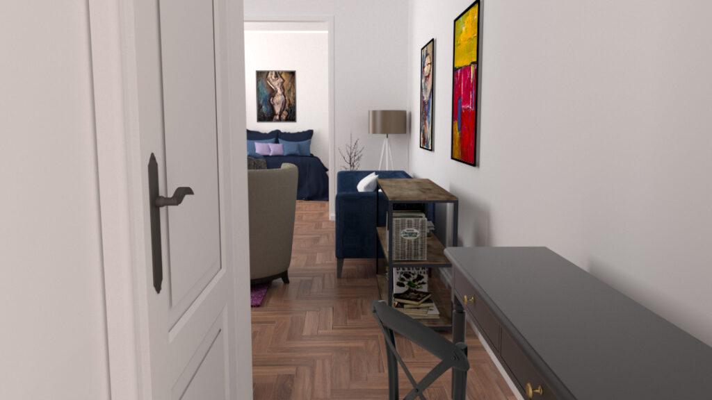 Przedpokój, czyli otwarcie się na malarstwo  Naszą podróż po projekcie mieszkania rozpoczynamy od stylowego przedpokoju, który otwiera nam dostęp do większości mieszkania. Przedpokój to wydzielona przestrzeń między minimalistyczną komodą, a niewielkim w.c., z którego jest dostęp do salonu oraz sypialni. W przedpokoju nie zdecydowałem się na obrazy, ponieważ byłyby one słabo doświetlone. Dlatego obrazy pojawiają się w dalszych pomieszczeniach.