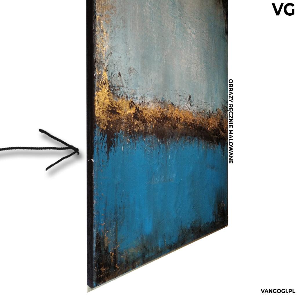 Na czarno obramowane brzegi obrazu akrlowego. Sposób na zawieszenie obrazu bez ramy na ścianie salonu lub sypialni