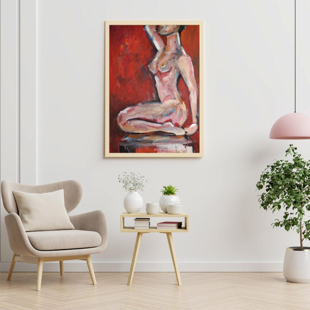 Abstrakcyjny kobiecy akrylowy akt