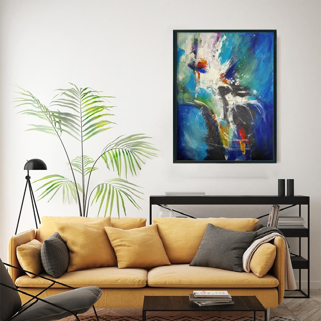 Duży nowoczesny abstrakcyjny obraz, który można powiesić w salonie, sypialni lub na ścianie w biurze. Nowoczesne malarstwo akrylowe, obraz na ścianę do salonu