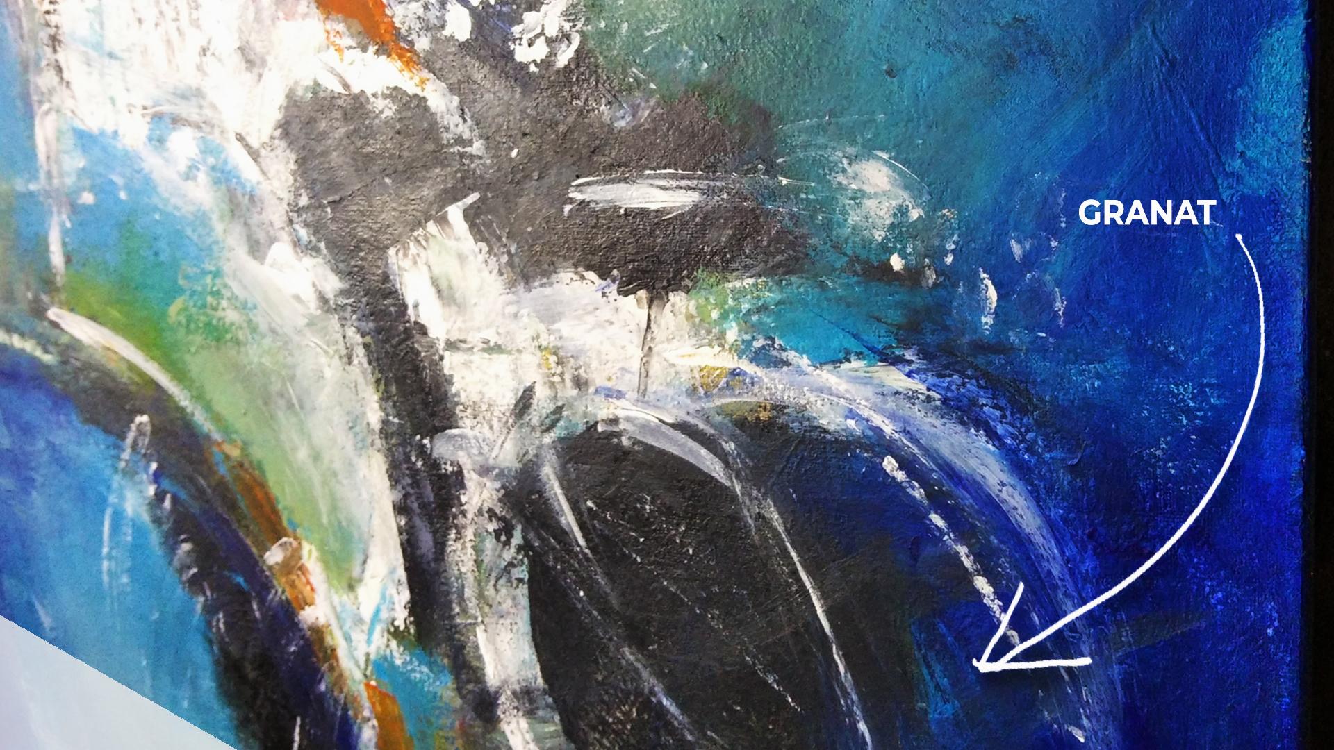 Obraz akrylowy abstrakcyjny z bliska. Obraz z detalem kolorystycznym. Obraz na sprzedaż