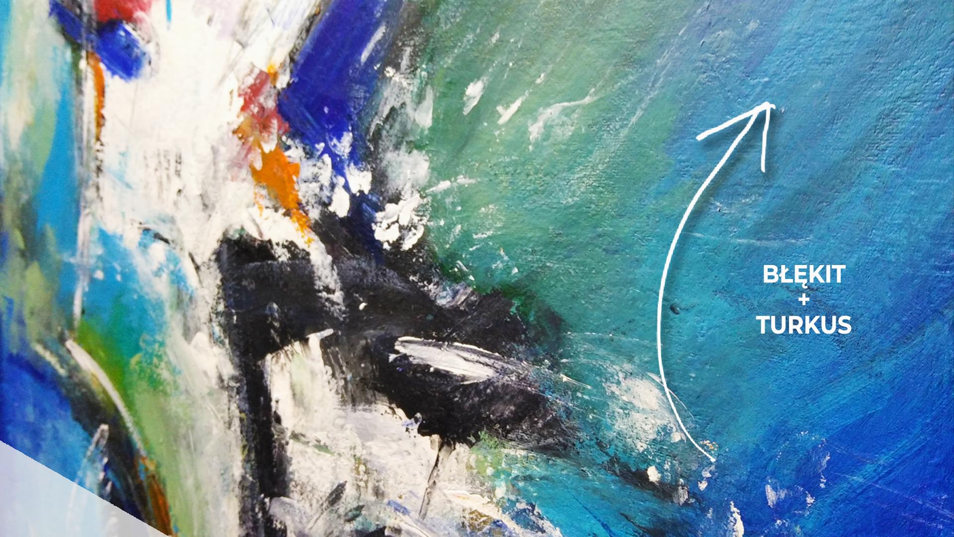 Obraz akrylowy abstrakcyjny z bliska. Obraz z detalem kolorystycznym. Obraz na sprzedaż detal drugi