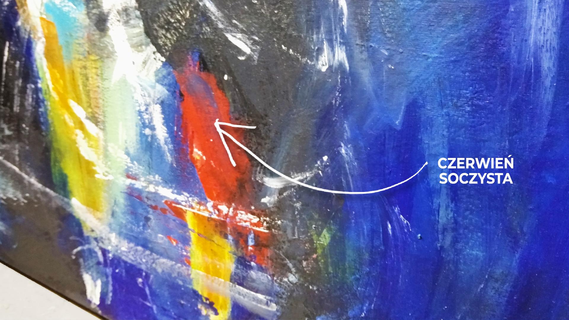 Obraz akrylowy abstrakcyjny z bliska. Obraz z detalem kolorystycznym. Obraz na sprzedaż detal czerwonej wstawki kolorystycznej