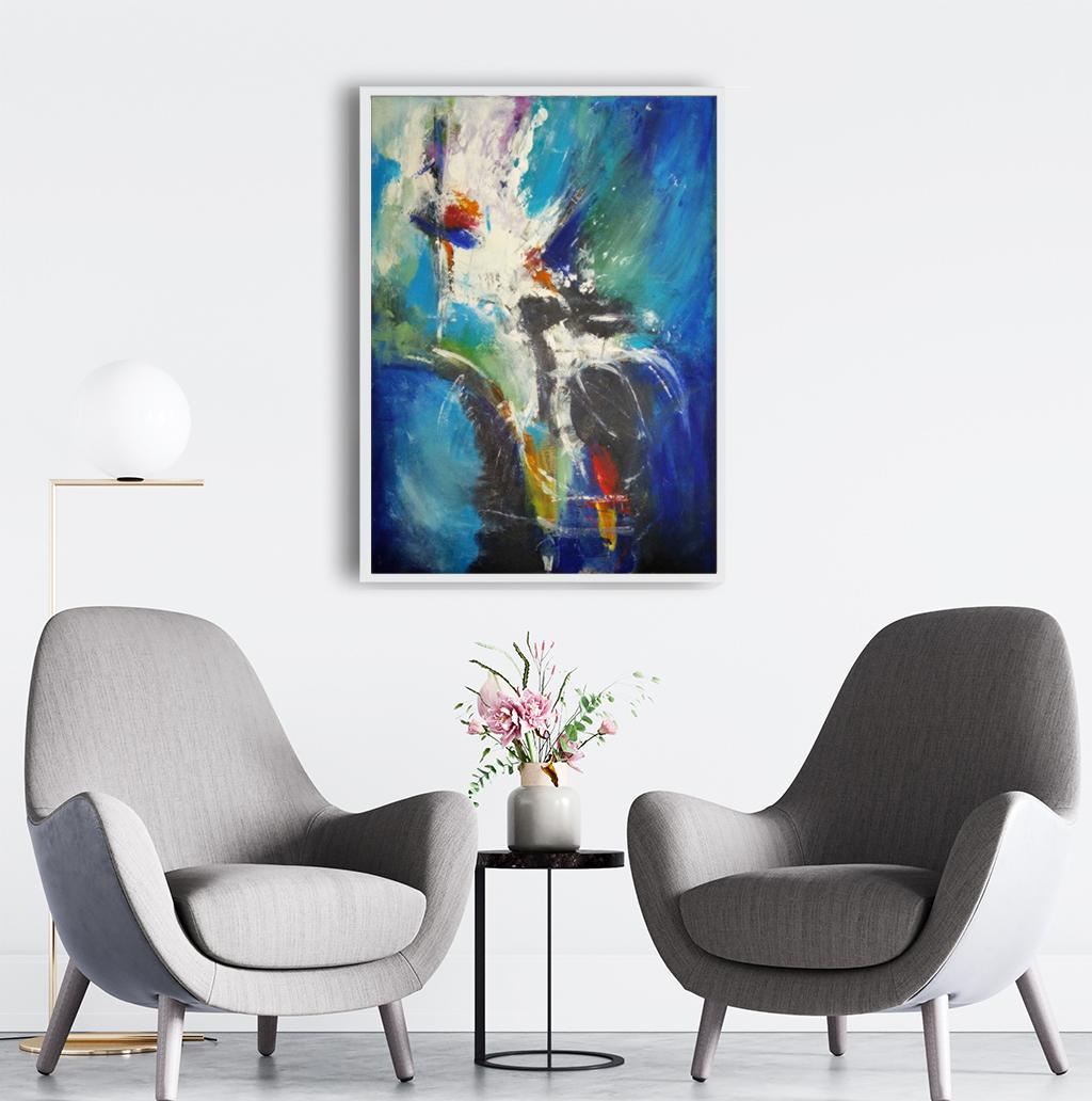 Duży nowoczesny abstrakcyjny obraz, który można powiesić w salonie, sypialni lub na ścianie w biurze. Nowoczesne malarstwo akrylowe, obraz na ścianę do nowego biura