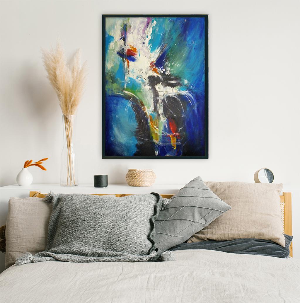 Duży nowoczesny abstrakcyjny obraz, który można powiesić w salonie, sypialni lub na ścianie w biurze. Nowoczesne malarstwo akrylowe, obraz na ścianę do sypialni