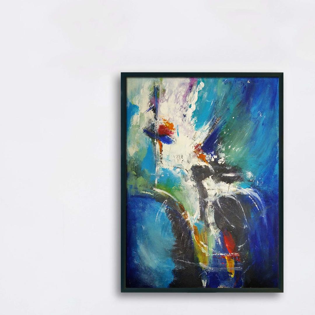 Duży nowoczesny abstrakcyjny obraz, który można powiesić w salonie, sypialni lub na ścianie w biurze. Nowoczesne malarstwo akrylowe, obraz na białą ścianę