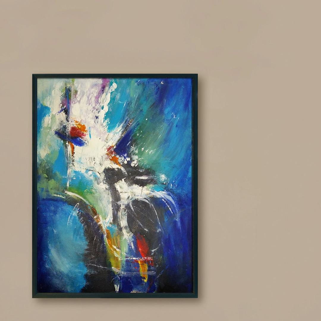 Duży nowoczesny abstrakcyjny obraz, który można powiesić w salonie, sypialni lub na ścianie w biurze. Nowoczesne malarstwo akrylowe, obraz na brązową ścianę
