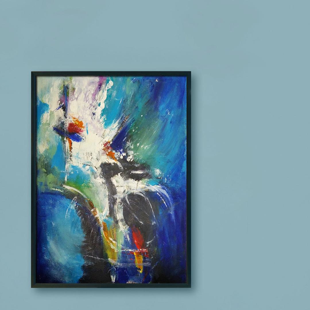 Duży nowoczesny abstrakcyjny obraz, który można powiesić w salonie, sypialni lub na ścianie w biurze. Nowoczesne malarstwo akrylowe, obraz na niebieską ścianę