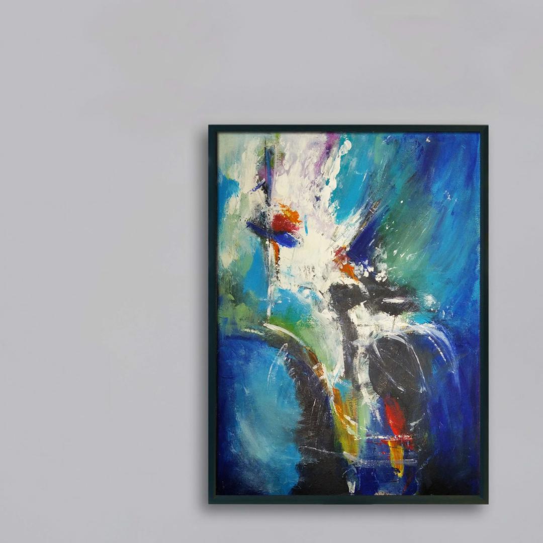 Obraz Akrylowy Euforia 60 x 80 cm obraz na szarej ścianie