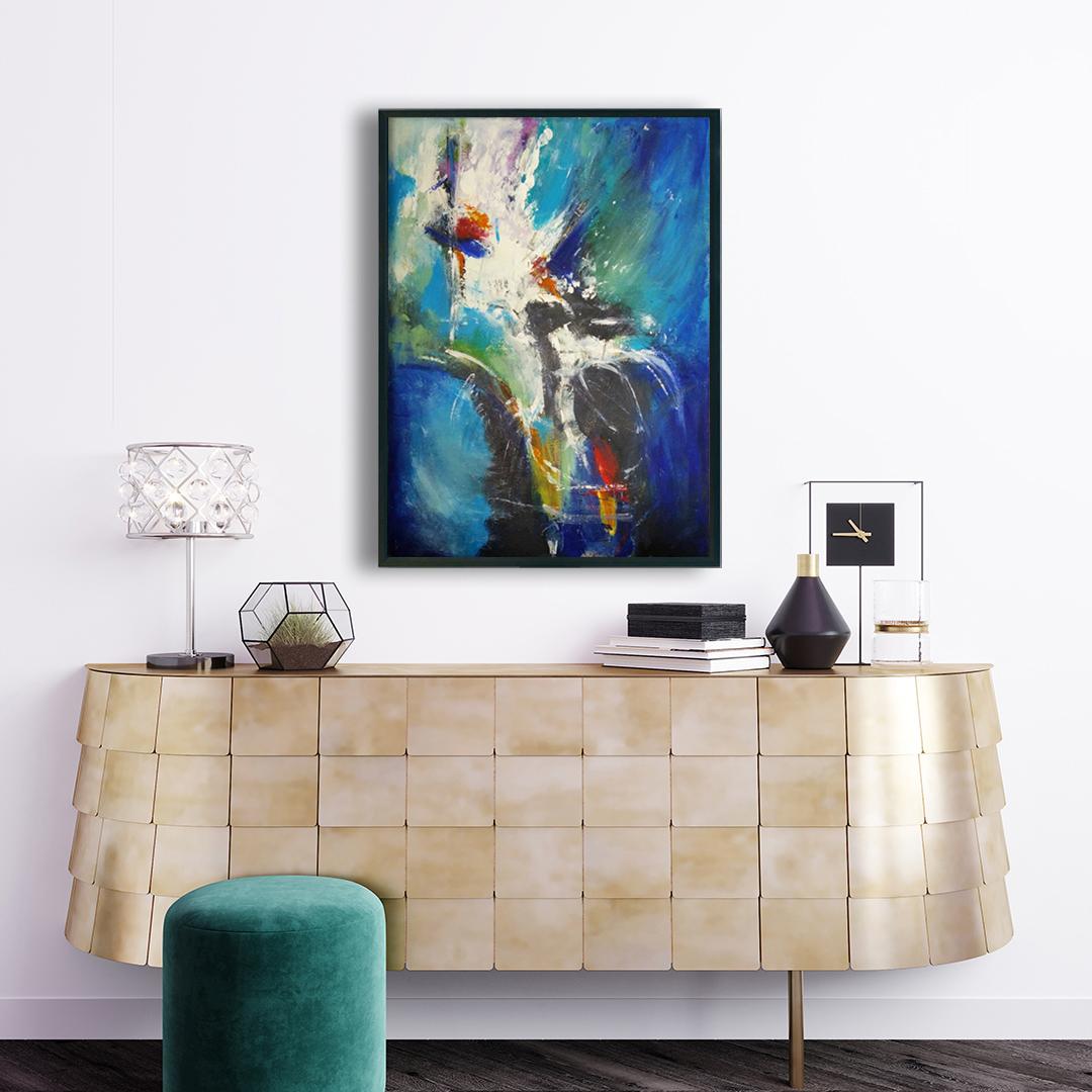 Duży nowoczesny abstrakcyjny obraz, który można powiesić w salonie, sypialni lub na ścianie w biurze. Nowoczesne malarstwo akrylowe, obraz na ścianę nad modną komodę