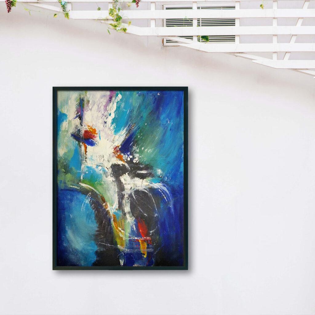 Duży nowoczesny abstrakcyjny obraz, który można powiesić w salonie, sypialni lub na ścianie w biurze. Nowoczesne malarstwo akrylowe
