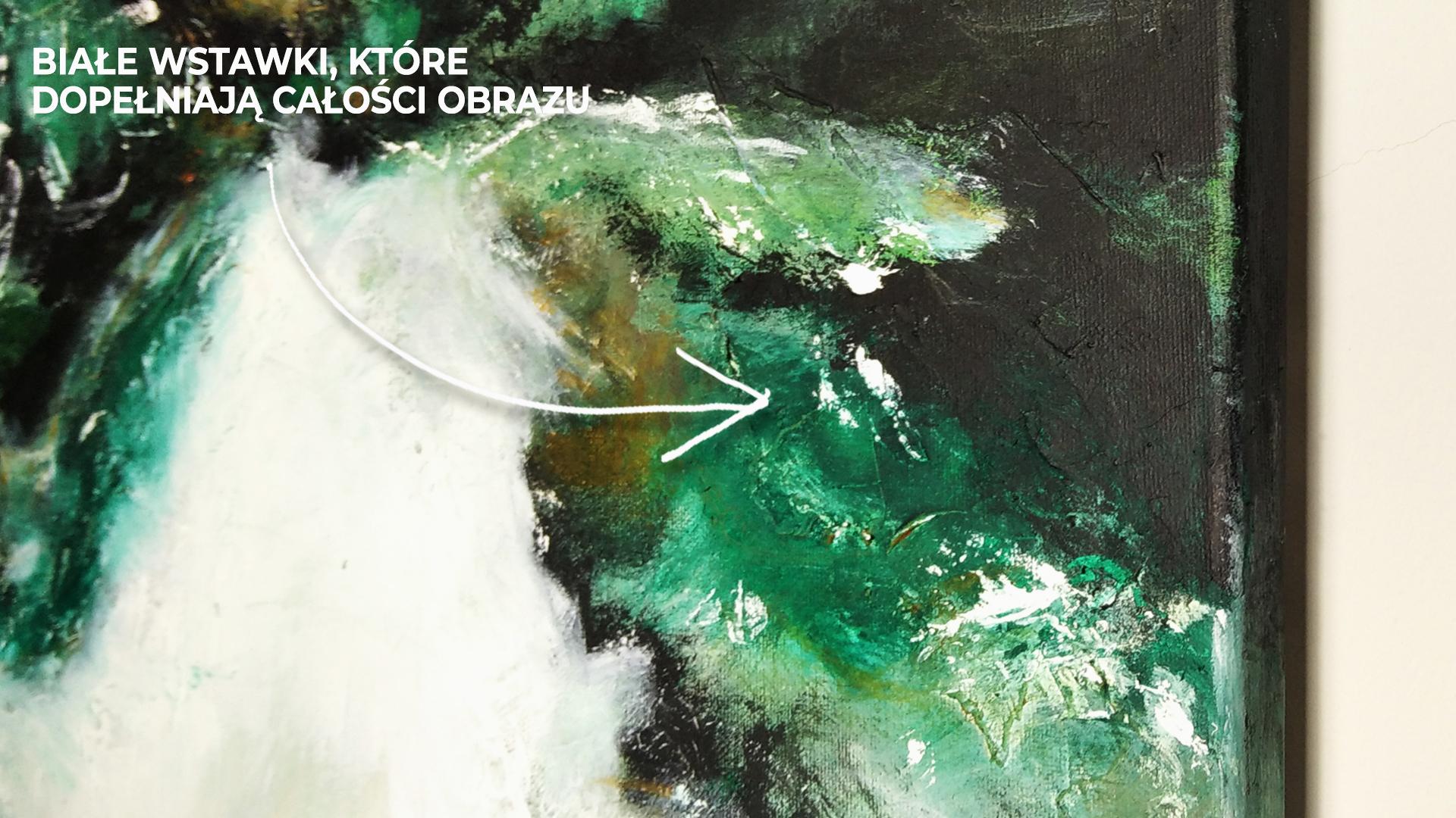 Białe wstawki kolorystyczne, które ukazują, że obraz może świetnie pasować zarówno w jasnym jak i ciemnym wnętrzu. Zbliżenie na ręcznie malowany obraz akrylowy