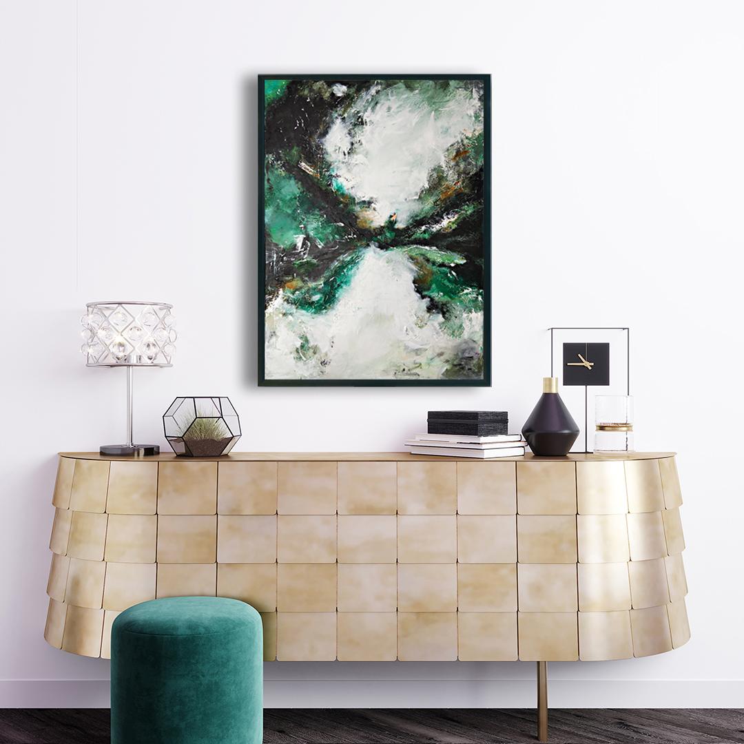 Obraz w kolorze butelkowej zieleni, który pasuje do dodatków w stylu boho nad komode. Obraz do nowoczesnego wnętrza. Obraz do salonu nad komodę
