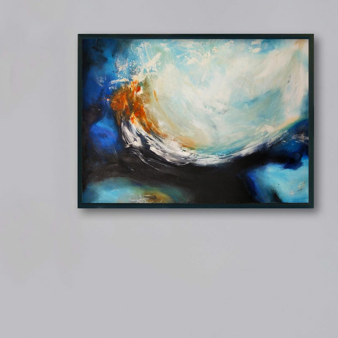 Obrazy ręcznie malowane na ścianę do salonu. Obraz ,morze na szarej ścianie