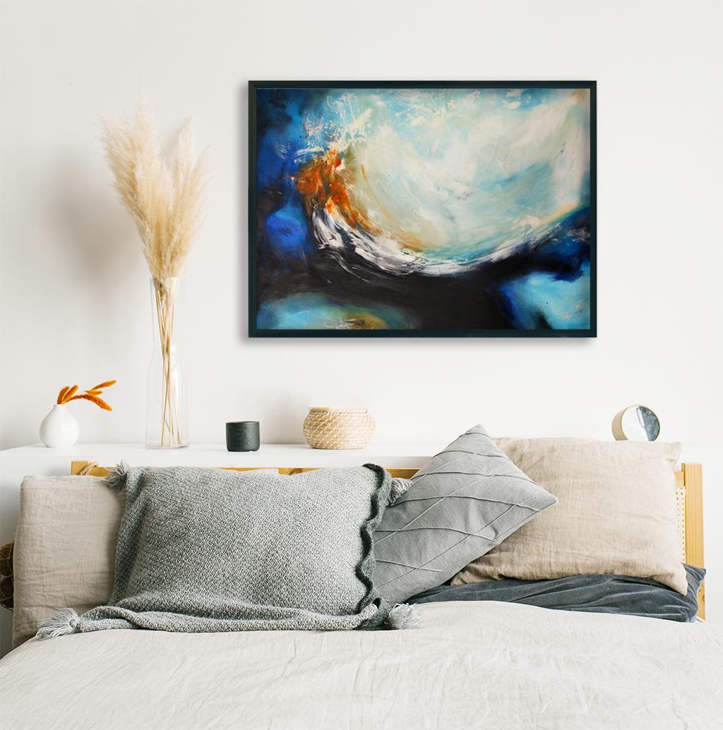 Obrazy ręcznie malowane na ścianę do sypialni. Obraz klimat morski do sypialni