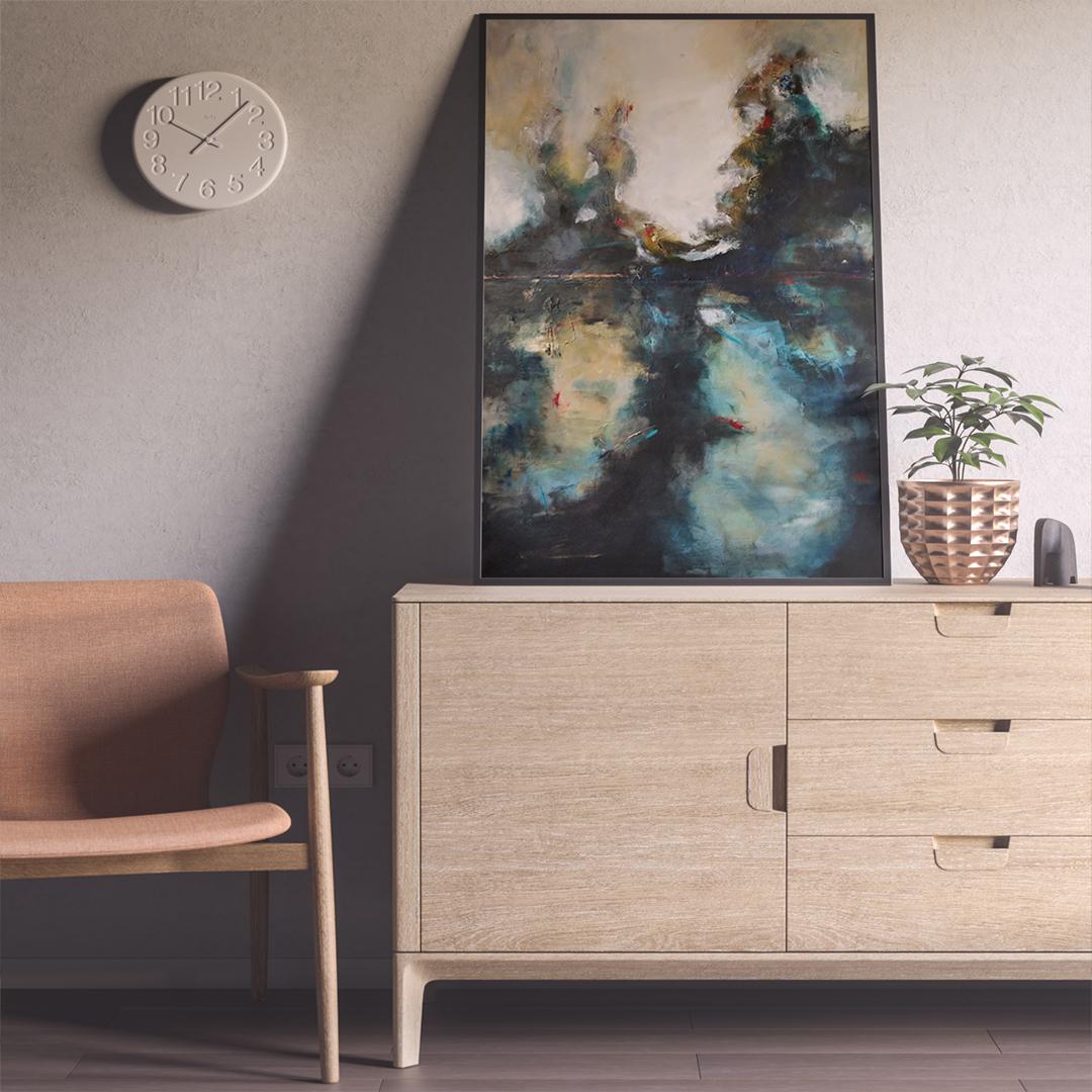 Krajobraz ręcznie malowany na płótnie. Duży oryginalny obraz do powieszenia na ścianę do salonu, sypialni. Piękny, abstrakcyjny obraz akrylowy do kupna.
