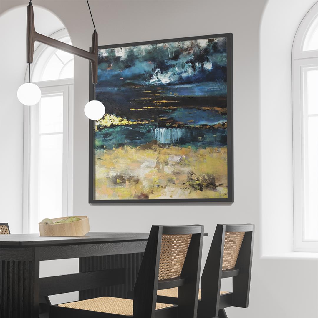 Piękny ręcznie malowany obraz na płótnie na ścianie w jadalni