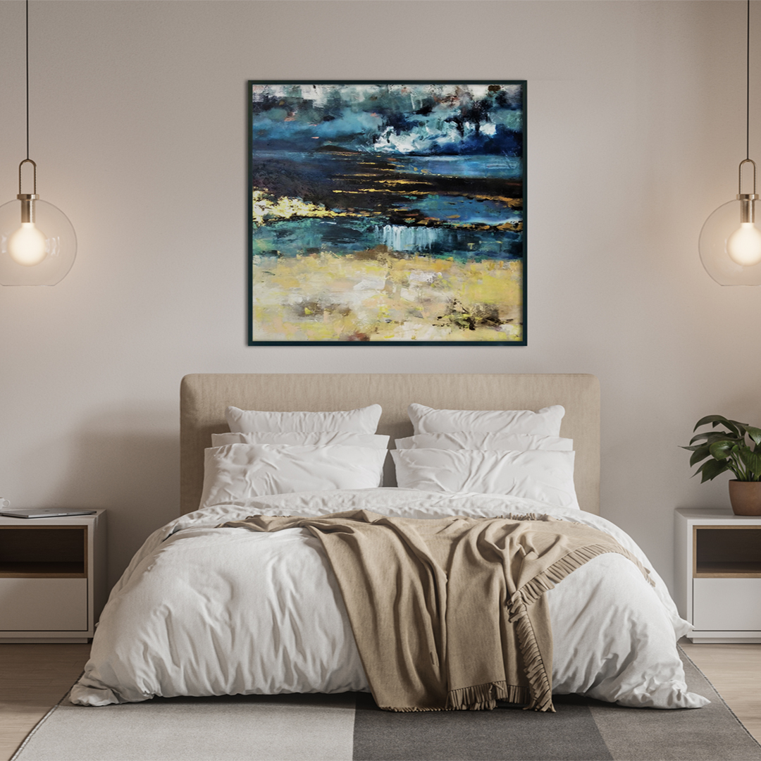Piękny ręcznie malowany obraz na płótnie na ścianie w sypialni