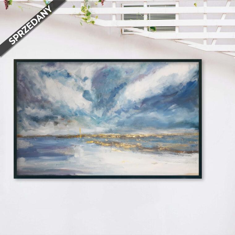 Obraz Akrylowy Złoty Pejzaż Morski 115 x 75 cm obraz produktu sprzedany