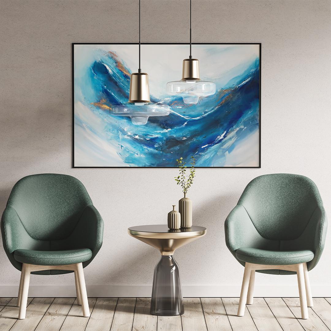Duży ręcznie malowany pejzaż morski krajobraz. Obraz morski pejzaż online. Obrazy do salonu, sypialni. Galeria sztuki online z obrazami do kupienia.