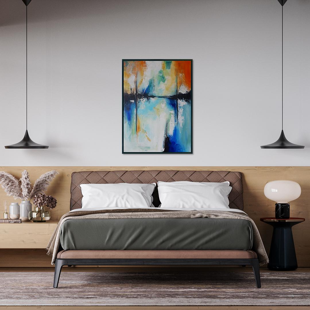 morski pejzaż ręcznie malowany na płótnie do powieszenia na ścianie. Obraz akrylowy ręcznie malowany do kupienia. Obraz do sypialni
