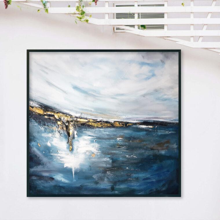 Ręcznie malowany obraz do salonu jako morski krajobraz akrylowy. Obraz morski pejzaż. Obraz do salonu, sypialni. Galeria sztuki online z obrazami do salonu.